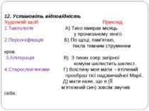 12. Установіть відповідність Художній засіб Приклад 1.Тавтологія А) Тихо вмир...