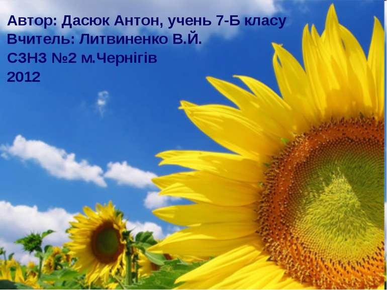 Автор: Дасюк Антон, учень 7-Б класу Вчитель: Литвиненко В.Й. СЗНЗ №2 м.Черніг...