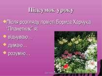 """Підсумок уроку Після розгляду повісті Бориса Харчука """"Планетник"""" я: відчуваю…..."""