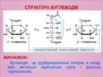СТРУКТУРА ВУГЛЕВОДІВ ВИСНОВОК: Вуглеводи - це поліфункціональні сполуки, в ск...