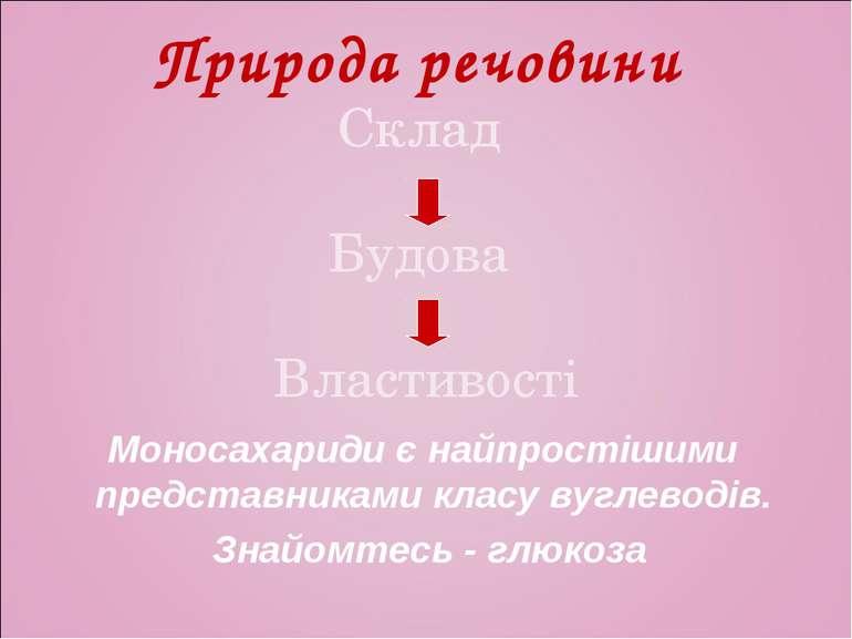 Природа речовини Склад Будова Властивості Моносахариди є найпростішими предст...