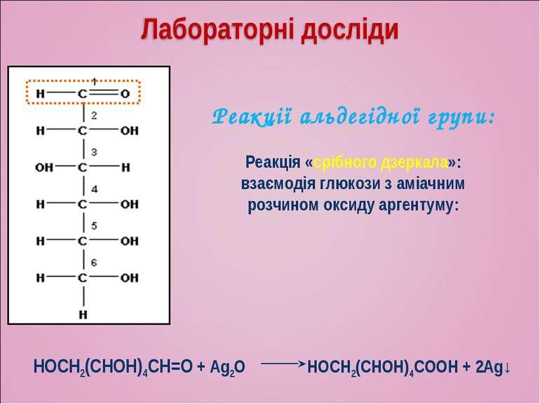 Реакції альдегідної групи: Реакція «срібного дзеркала»: взаємодія глюкози з а...