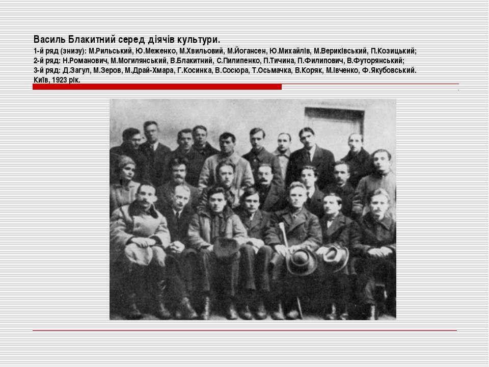 Василь Блакитний серед діячів культури. 1-й ряд (знизу): М.Рильський, Ю.Межен...
