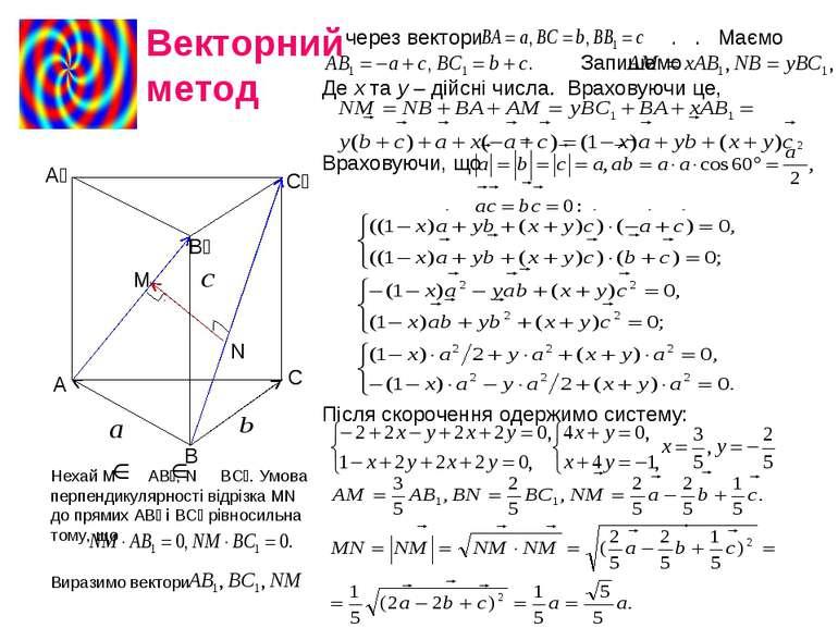 Нехай М АВ₁, N BC₁. Умова перпендикулярності відрізка МN до прямих АВ₁ і ВС₁ ...