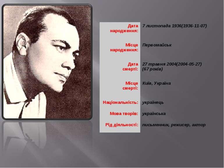 Дата народження: 7 листопада 1936(1936-11-07) Місце народження: Первомайськ Д...