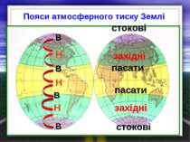 Пояси атмосферного тиску Землі В Н В В стокові В Н Н стокові західні західні ...