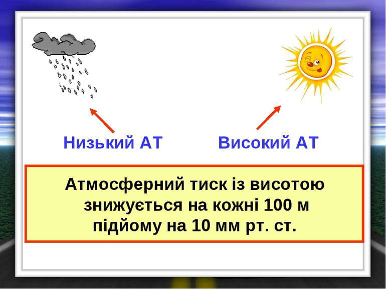 Атмосферний тиск із висотою знижується на кожні 100 м підйому на 10 мм рт. ст...