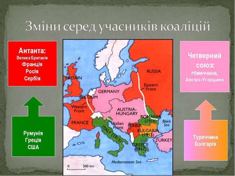 Антанта: Велика Британія Франція Росія Сербія Румунія Греція США Троїстий сою...