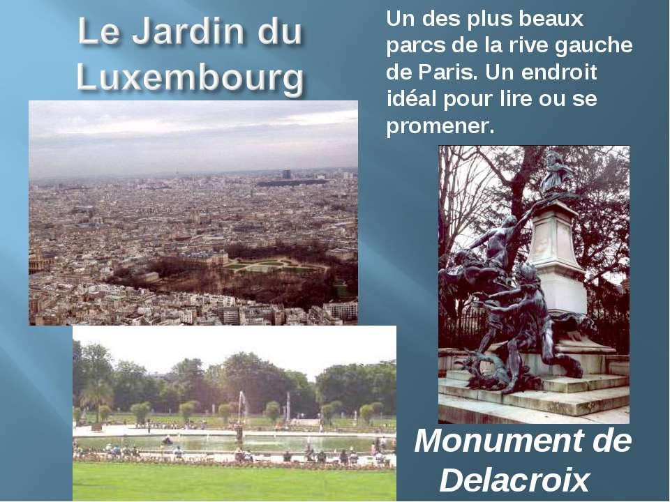 Monument de Delacroix Un des plus beaux parcs de la rive gauche de Paris. Un ...