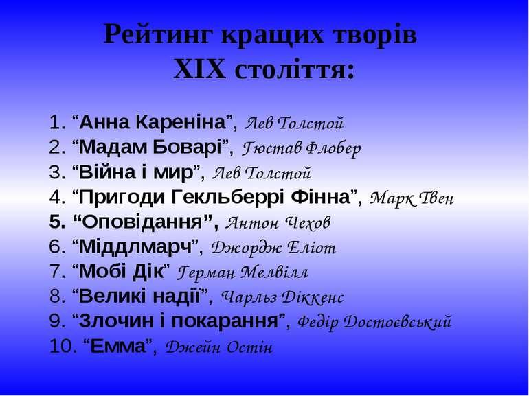 """Рейтинг кращих творів ХІХ століття: 1. """"Анна Кареніна"""", Лев Толстой 2. """"Мадам..."""
