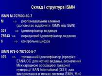 Склад і структура ISMN ISМN М-707500-50-7 М розпізнавальний елемент (допомога...