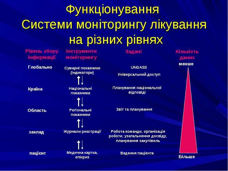 Функціонування Системи моніторингу лікування на різних рівнях Рівень збору ін...