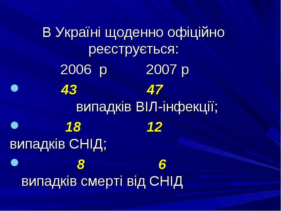 В Україні щоденно офіційно реєструється: 2006 p 2007 p 43 47 випадків ВІЛ-інф...