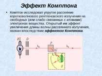 Эффект Комптона Комптон исследовал упругое рассеяние коротковолнового рентген...