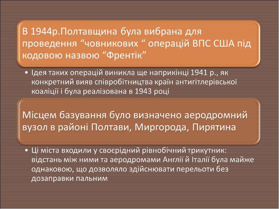 """В 1944р.Полтавщина була вибрана для проведення """"човникових """" операцій ВПС США..."""