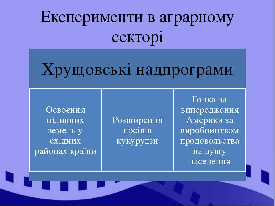 Експерименти в аграрному секторі