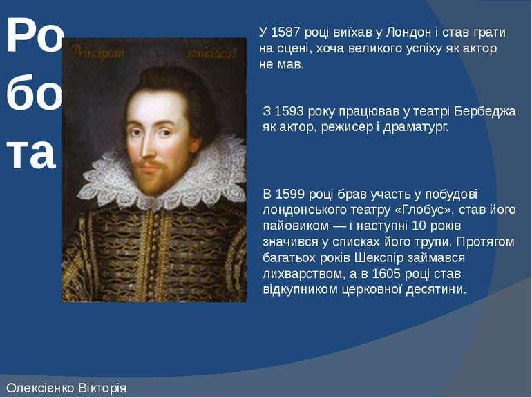 Робота У 1587 році виїхав у Лондон і став грати на сцені, хоча великого успіх...