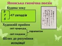 Японська гномічна поезія 5 7 17 складів 5 Будова хоку Художній прийом світ пр...