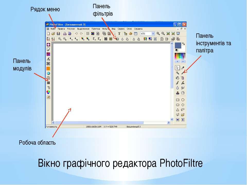 Рядок меню Панель фільтрів Панель модулів Панель інструментів та палітра Робо...