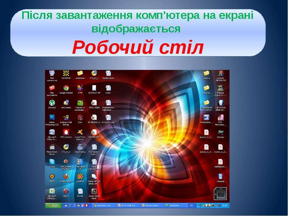 Після завантаження комп'ютера на екрані відображається Робочий стіл
