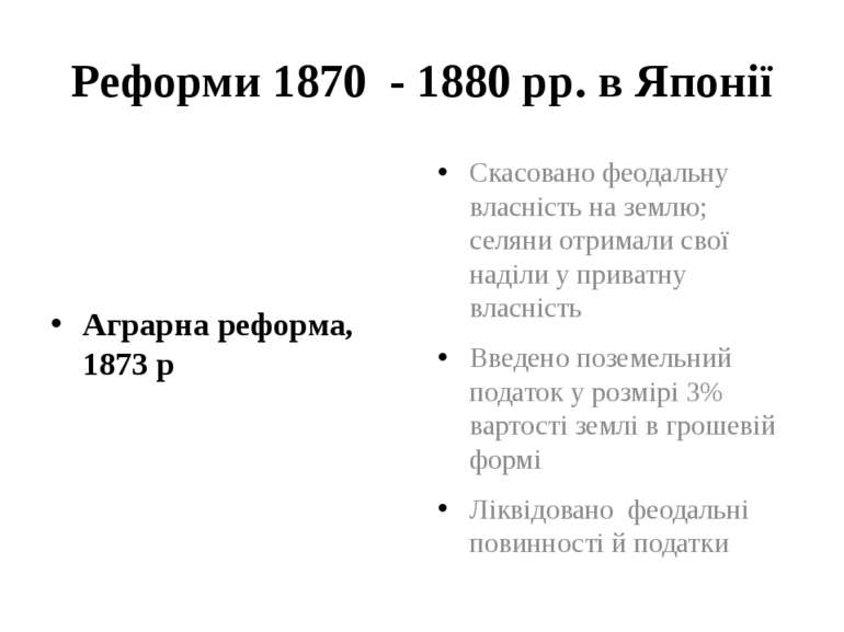 Реформи 1870 - 1880 рр. в Японії Аграрна реформа, 1873 р Скасовано феодальну ...