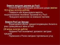 Вимоги західних держав до Росії:  - Сплатити борги попередніх рос...