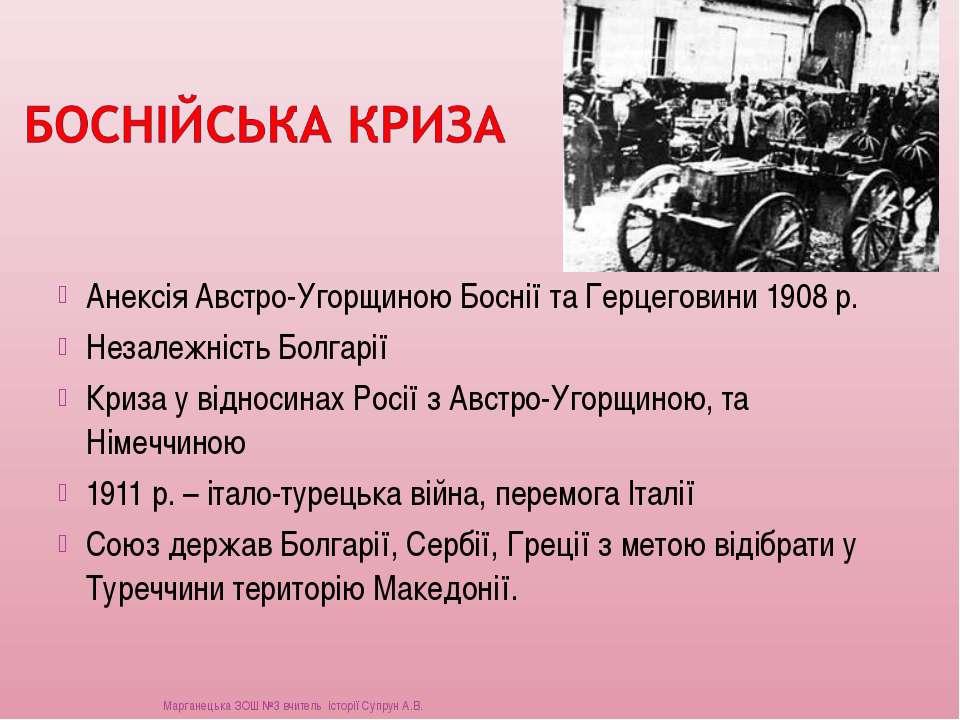 Анексія Австро-Угорщиною Боснії та Герцеговини 1908 р. Незалежність Болгарії ...