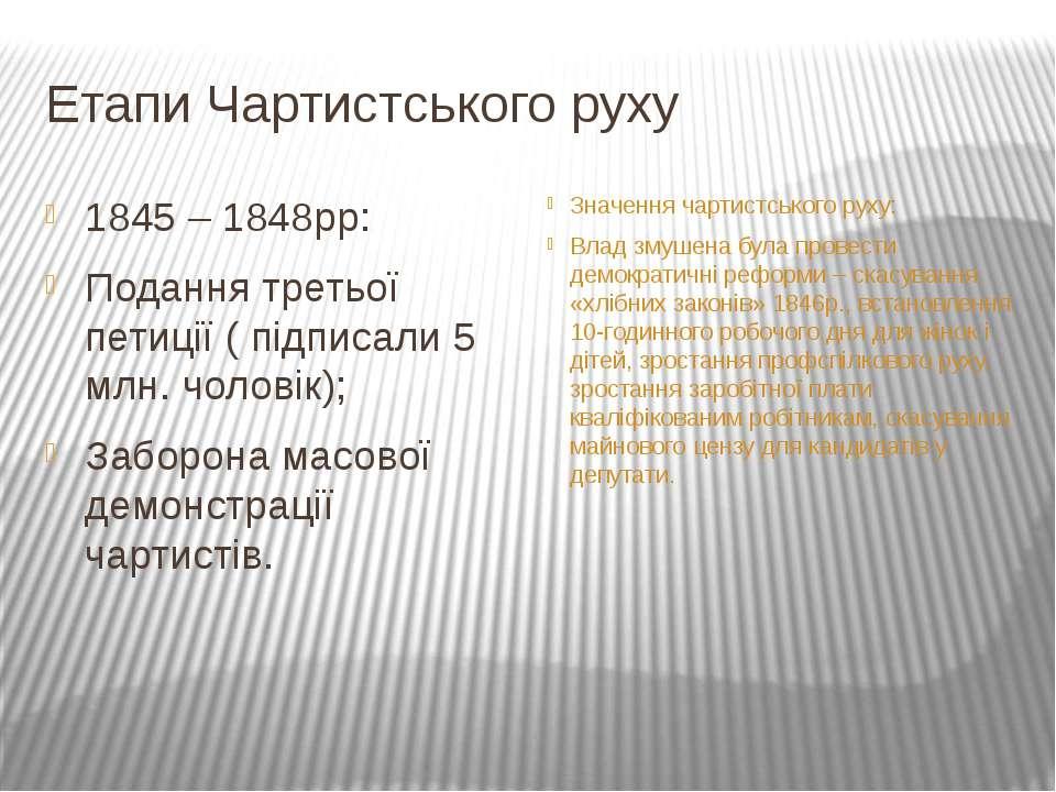 Етапи Чартистського руху 1845 – 1848рр: Подання третьої петиції ( підписали 5...