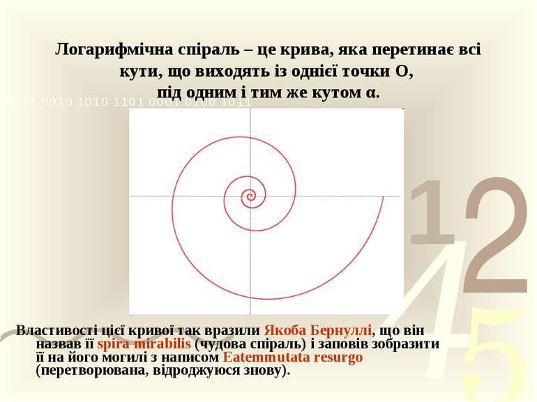 Логарифмічна спіраль – це крива, яка перетинає всі кути, що виходять із одніє...