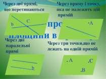 Способи проведення площини в просторі β β β α ·А b β α C • α b . A .B .C Чере...