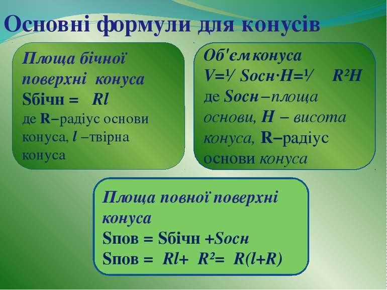 Основні формули для конусів Площа бічної поверхні конуса Sбічн =π Rl де R−рад...