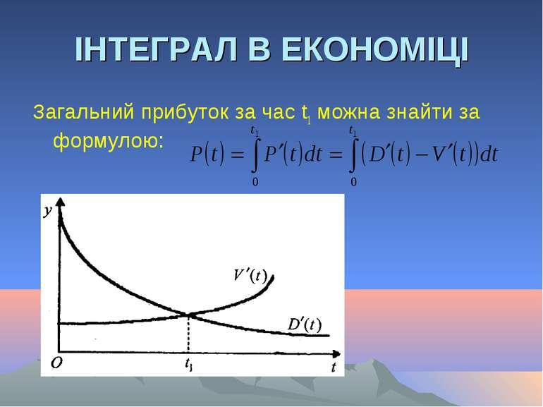 ІНТЕГРАЛ В ЕКОНОМІЦІ Загальний прибуток за час t1 можна знайти за формулою: