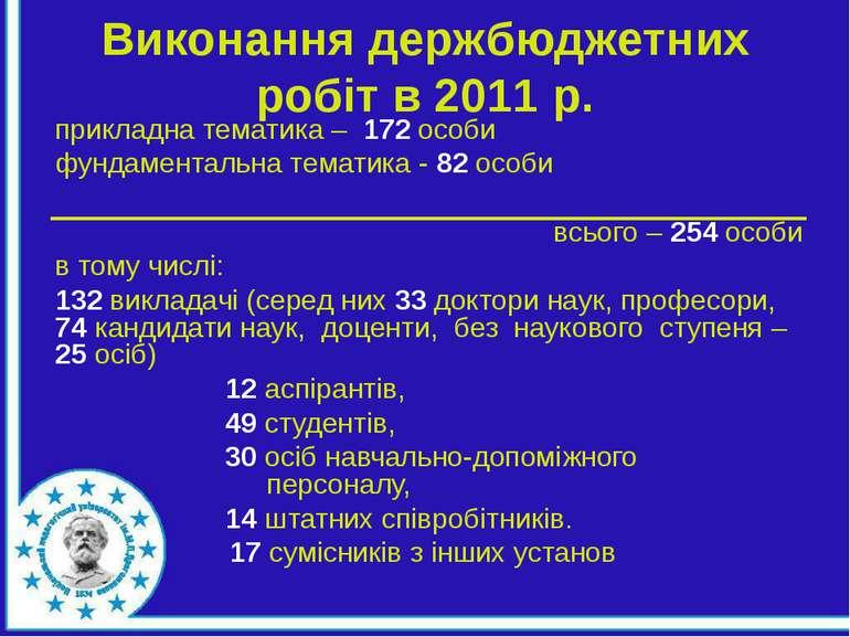 Виконання держбюджетних робіт в 2011 р. прикладна тематика – 172 особи фундам...