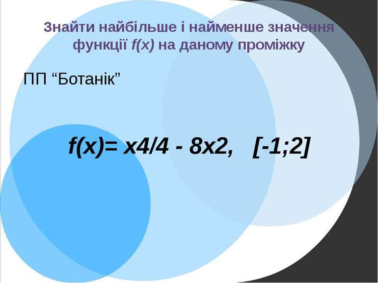 """Знайти найбільше і найменше значення функції f(x) на даному проміжку ПП """"Бота..."""