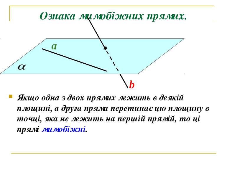 Ознака мимобіжних прямих. Якщо одна з двох прямих лежить в деякій площині, а ...