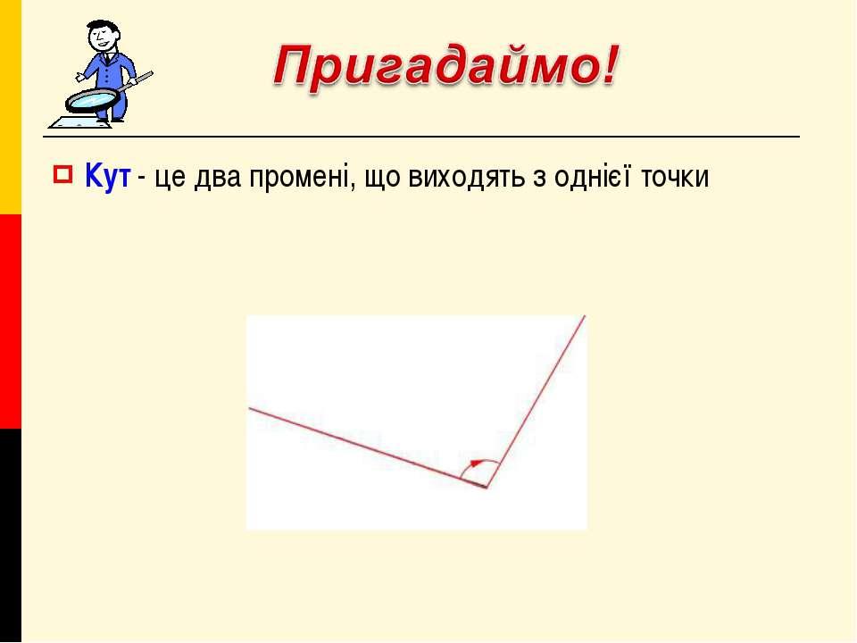 Кут - це два промені, що виходять з однієї точки