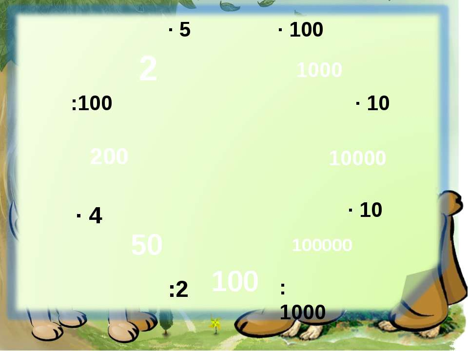 · 100 · 10 · 10 :1000 :2 · 4 :100 · 5 1000 10000 100000 100 50 200 2
