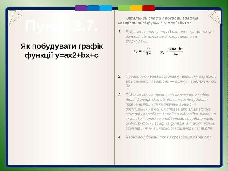 Приклади побудувати графіків квадратичних функцій Побудова. Знаходимо координ...