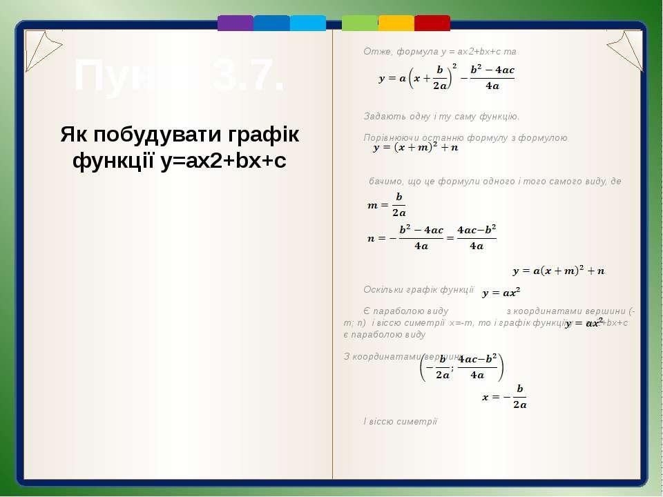 Пункт 3.7. Приклади побудувати графіків квадратичних функцій Приклад 1. Побуд...