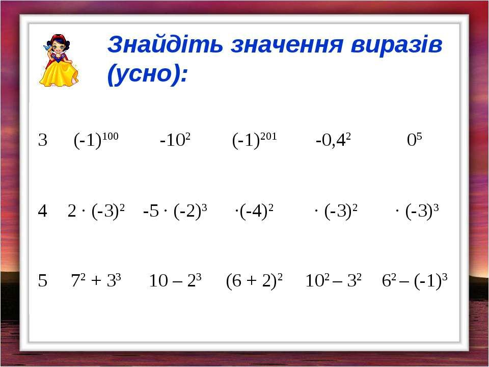 Знайдіть значення виразів (усно): 3 (-1)100 -102 (-1)201 -0,42 05 4 2 · (-3)2...