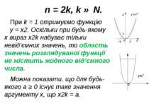 n = 2k, k ∈ N. При k = 1 отримуємо функцію y = x2. Оскільки при будь-якому x ...