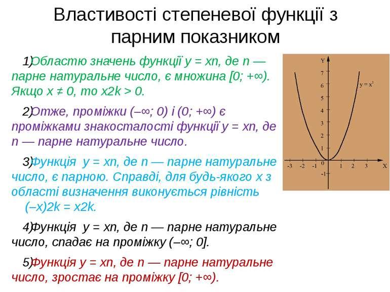 Властивості степеневої функції з парним показником Областю значень функції y ...