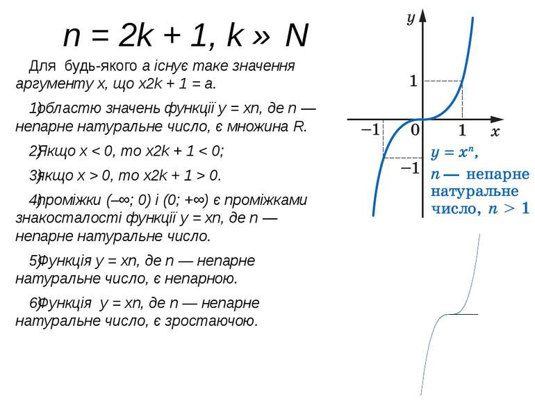n = 2k + 1, k ∈ N Для будь-якого a існує таке значення аргументу x, що x2k + ...