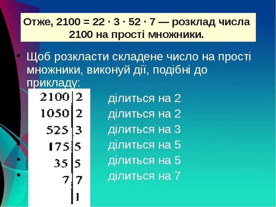 Щоб розкласти складене число на прості множники, виконуй дії, подібні до прик...