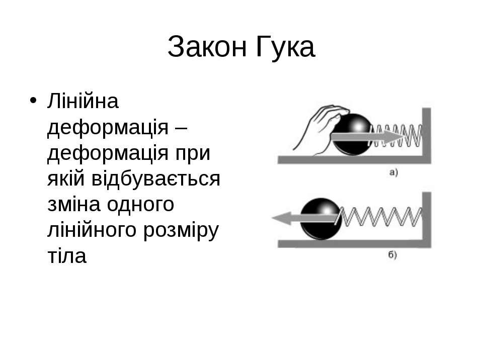 Закон Гука Лінійна деформація – деформація при якій відбувається зміна одного...