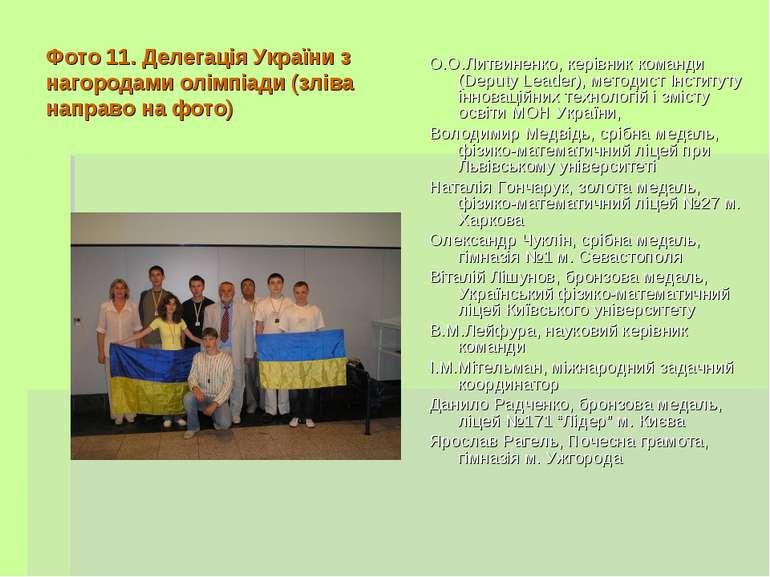 Фото 11. Делегація України з нагородами олімпіади (зліва направо на фото) О.О...