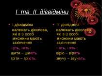 І та ІІ дієвідміни І дієвідміна належать дієслова, які в 3 особі множини мают...
