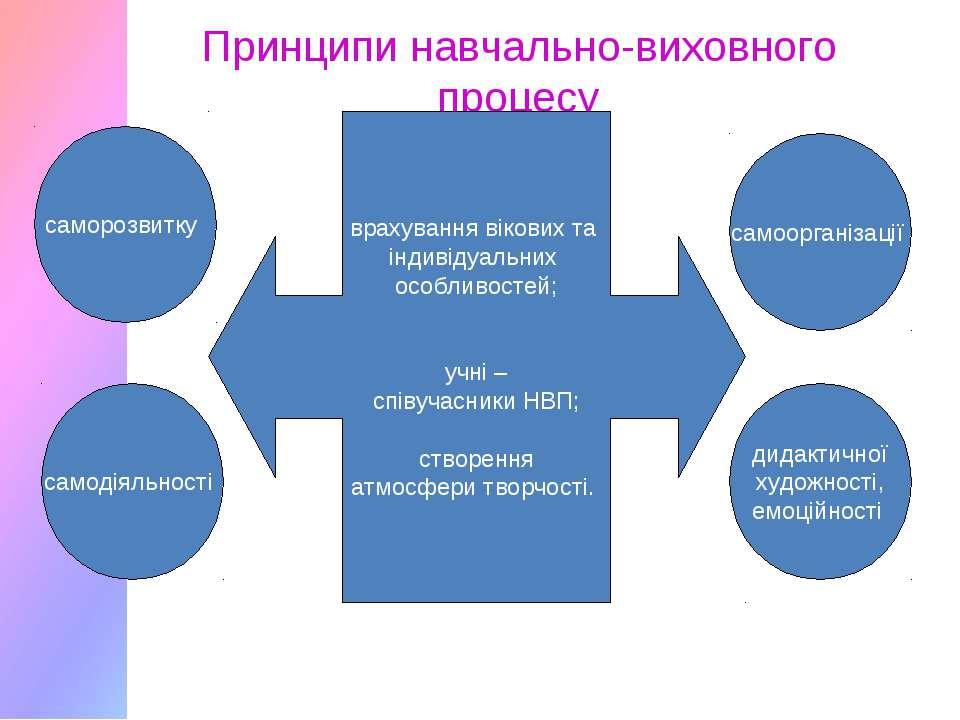 Принципи навчально-виховного процесу саморозвитку самодіяльності самоорганіза...