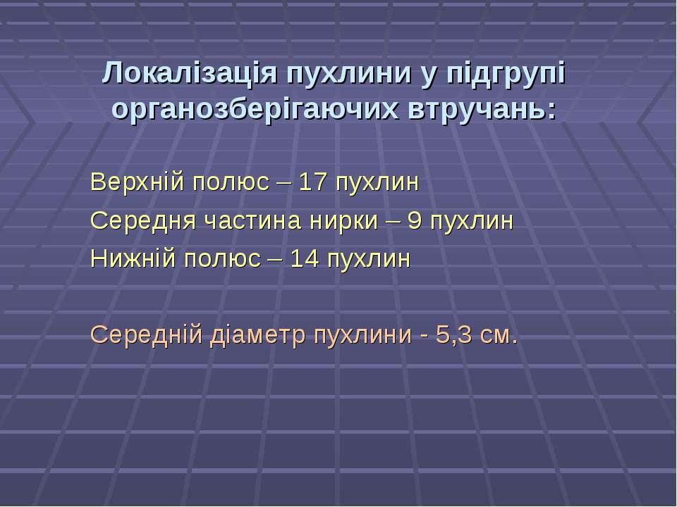 Локалізація пухлини у підгрупі органозберігаючих втручань: Верхній полюс – 17...