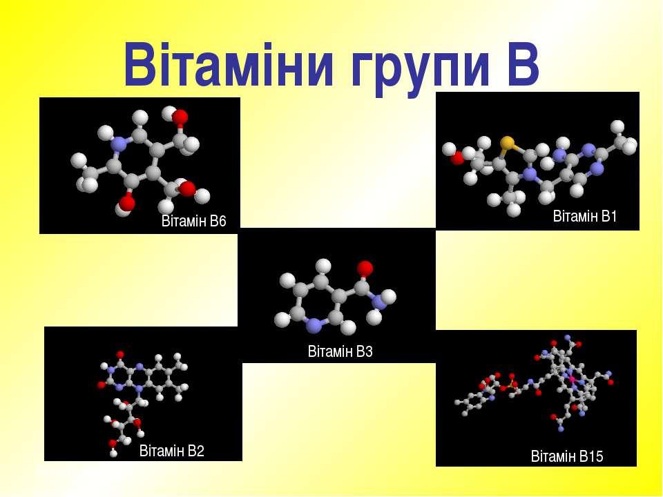 Вітаміни групи В Вітамін В6 Вітамін В1 Вітамін В2 Вітамін В15 Вітамін В3 © Не...